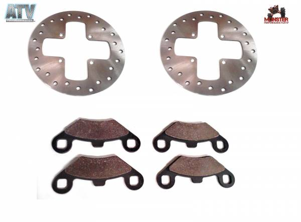 ATV Parts Connection - Monster Brakes Front Set Rotors & Pads replacement for Polaris 5211271, 5211325, 2200465, 1930643