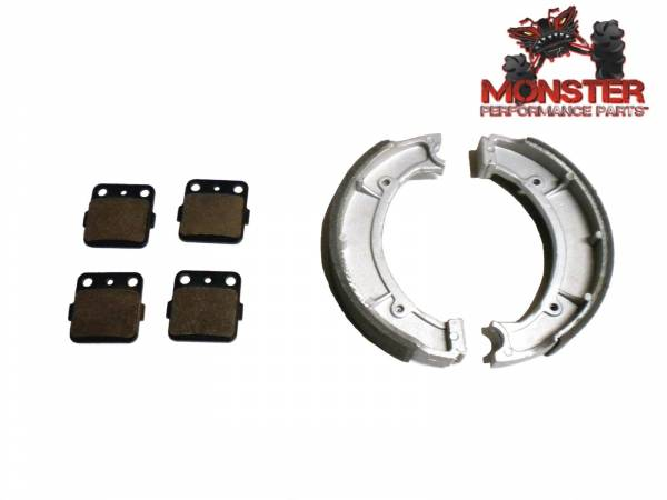 Monster Performance Parts - Monster Brakes Set of Brake Pads & Shoes replacement for Yamaha 4WV-W0045-00-00, 4WV-W2536-00-00