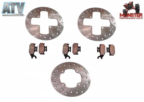 ATV Parts Connection - Monster Brakes Set Rotors & Pads replacement for Can-Am 4x4 705600603, 705600349 705600350