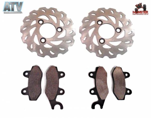 ATV Parts Connection - Monster Brakes Set Rotors & Pads replacement for Suzuki 59211-45G00 59100-09870 59100-09860