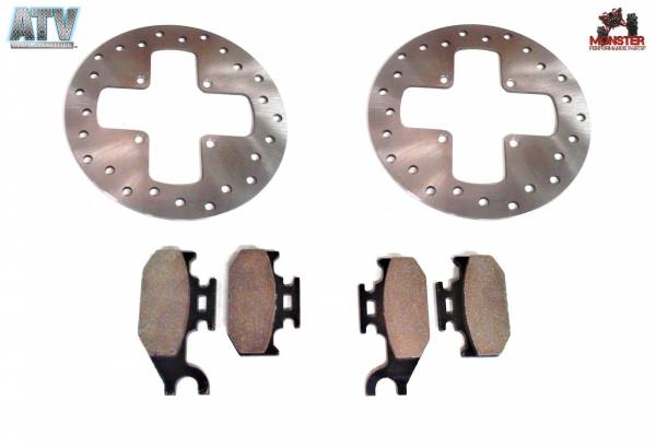 ATV Parts Connection - Monster Brakes Set Rotors & Pads replacement for Can-Am 705600004, 705600014, 705600349