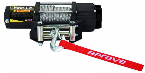 Aprove - Aprove Products 4500 LB Winch with Steel Cable and 4-Way Roller
