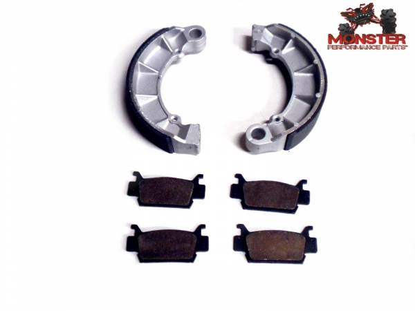 Monster Performance Parts - Monster Brakes Set of Brake Pads & Shoes replacement for Honda 06430-HN2-000, 06451-HP0-A02