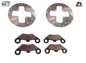 ATV Parts Connection - Monster Brakes Front Set Rotors & Pads replacement for Polaris 5211271, 5211325, 2200465, 1930643 - Image 1